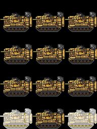 重装机兵像素风战车行走图、战斗图素材(RMVX、VXA、MV专用)